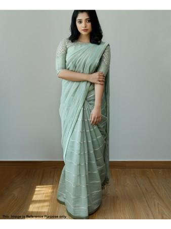 RE - Cyan color Embroiderey Dolla Silk Saree