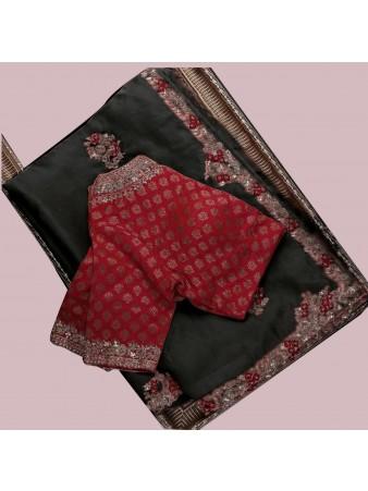 RE - Attractive Black Kasturi Silk Georgette Saree