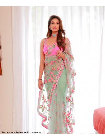 RE - Charming Mint Green color Butterfly net Saree