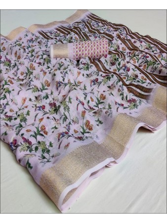 RE - Pink Coloured Pure Linen Digital Printed Saree