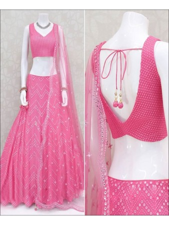 RE - Pink Colored Faux Georgette Emboidered Work Lehenga Choli