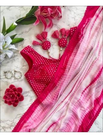 MD - Pink Colored Faux Georgette Digital Print Saree
