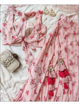 RE - Baby Pink Digital Print Faux Georgette Lehenga Choli