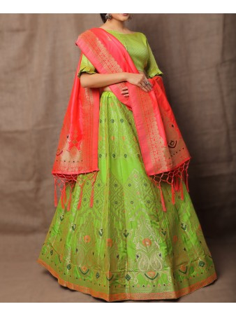 VF - Evergreen Jacquard Silk Parrot Green Lehenga Choli