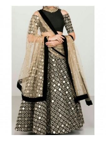 RE - Exclusive black banglori silk foil mirror work lehenga