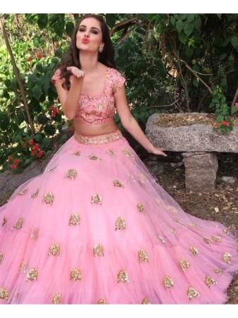KF - Fairy Pink Soft Net Embroidered Ruffle Flair Lehenga Choli