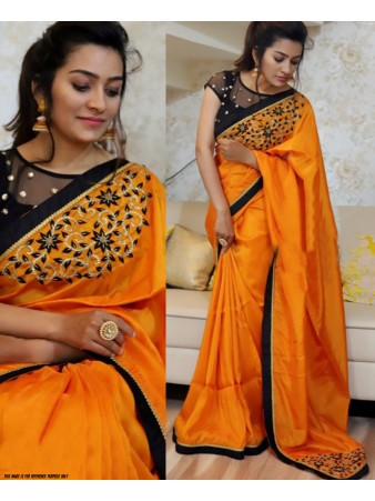 RE - Exclusive yellow paper silk embroidered saree