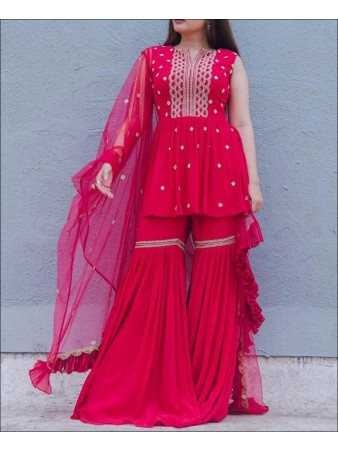 PF - Pink Colored Foux Geogette Party Wear Plazo Suit