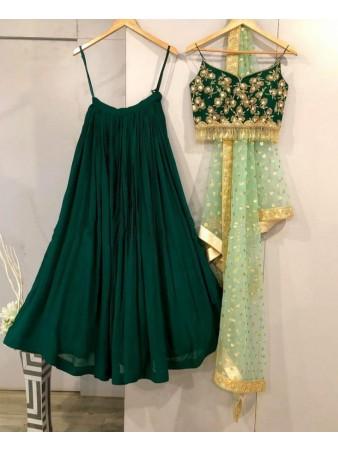 RE - Dark Green Georgette embroidery lehenga Choli