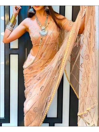 PF - Peach Colored Butterfly Net Party Wear Saree