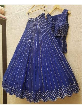 RE - Blooming Blue Colored Tapeta Silk Lehenga Choli