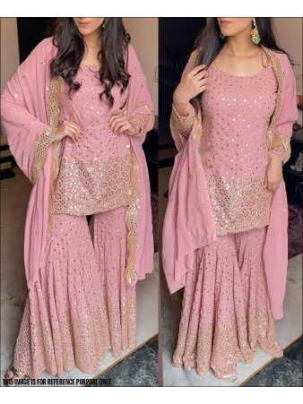 RE - Baby Pink Colored Faux Georgette Semi-Stiched Salwar Suit