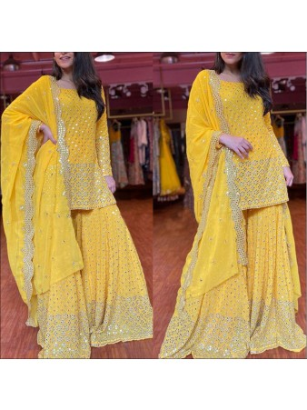 RE - Yellow Colored Faux Georgette Semi-Stiched Salwar Suit