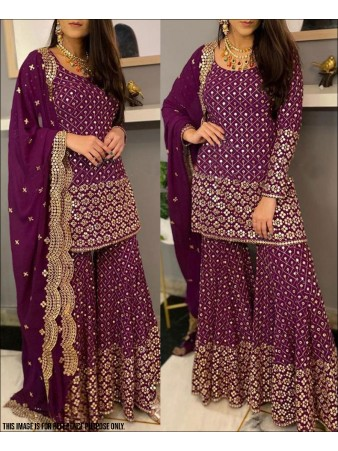 RE - Wine Colored Faux Georgette Semi-Stiched Salwar Suit