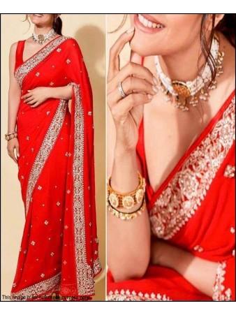 PF - Celebrity style red vichitra silk embroidered saree