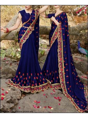 PF - Embroidered blue paper silk saree