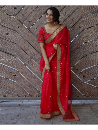 RE - Beautiful Red Coloured Georgette Sequence Work Saree