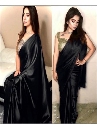 RE - Stunning Black Colored Dola Silk Plain Saree