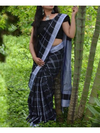 NFS - Lissome black Cotton linen printed Saree