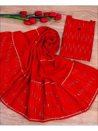 Red Rayon Sequence Embroidery Work Kurti Set