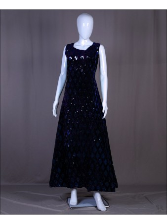 Blue Velvet Sequence Embroidered Work Gown