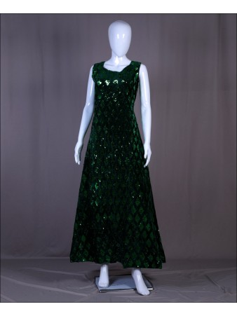Green Velvet Sequence Embroidered Work Gown