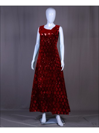 Red Velvet Sequence Embroidered Work Gown