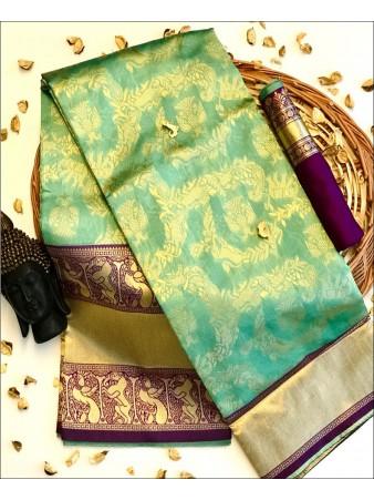 RE - Turquoise Blue Colored Banarasi Silk Saree