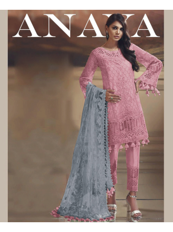 RF - Embroidered Tissue Silk Pakistani Suit in Pink