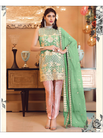 RF - Embroidered Faux Georgette Pakistani Suit in Green