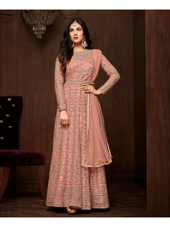 RF - Abaya Style Pink Soft Net Anarkali  Suit