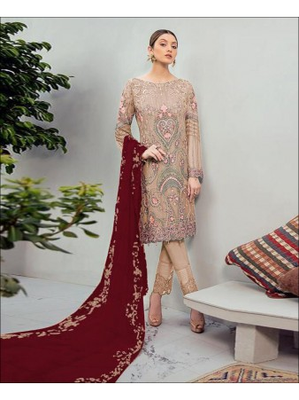 RF - Glorious Beige Foux Georgette Embroidered Pakistani Straight Suit