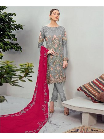 RF - Glorious Grey Foux Georgette Embroidered Pakistani Straight Suit