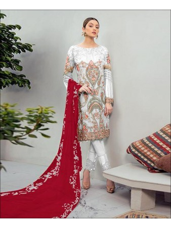 RF - Glorious Off White Foux Georgette Embroidered Pakistani Straight Suit