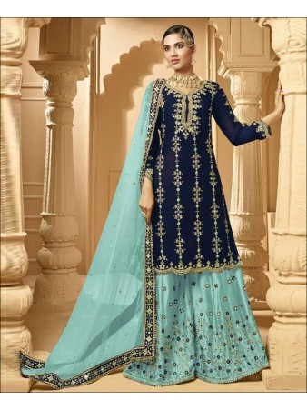 RF - Super Model Nevy Blue Faux Georgette Palazzo Style Suit