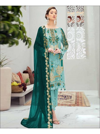 RF - Glorious Aqua Blue Butterfly Net Embroidered Pakistani Straight Suit