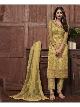 RF - Lovely Yellow Butterfly Net Embroidered Pakistani Straight Suit