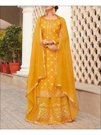 RF - Yellow color Chinon Sharara Suit.