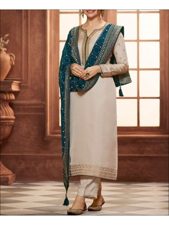 RF - Nude White color Satin Georgette Palazzo Suit.