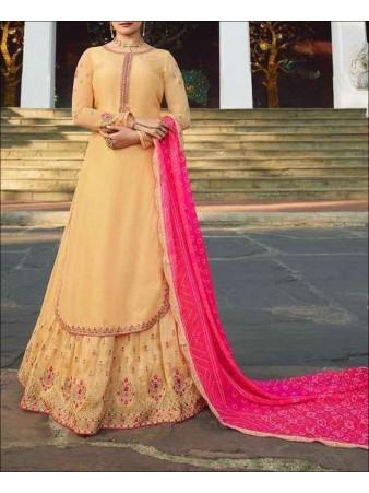RF - Yellow color Muslin Satin Gharara Dress.