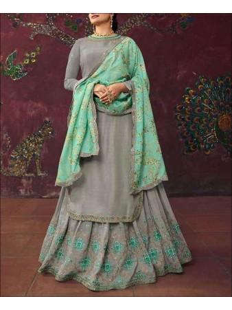 RF - Grey color Muslin Satin Gharara Dress.