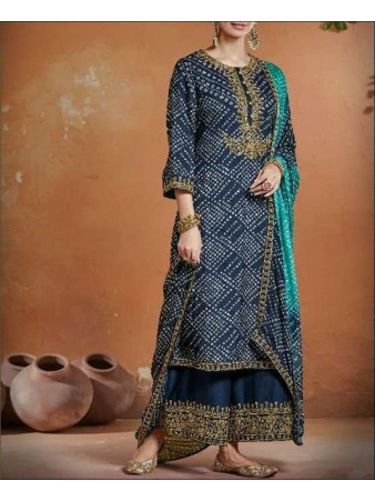 RF - Blue color Tusser Silk Palazzo Suit.