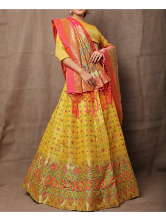 VF - Evergreen Jacquard Silk Yellow lehenga choli