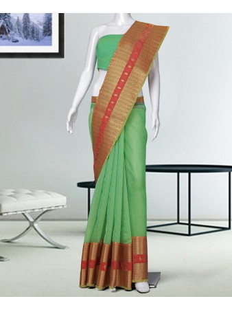 RE - Desirably Light green Manipuri Silk woven saree