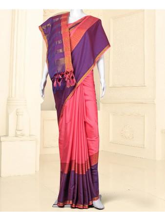 RE - Winsome Light pink silk self weaving saree