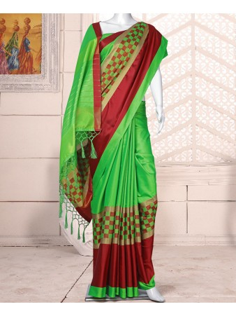 RE - Pleasing light green cotton silk woven saree