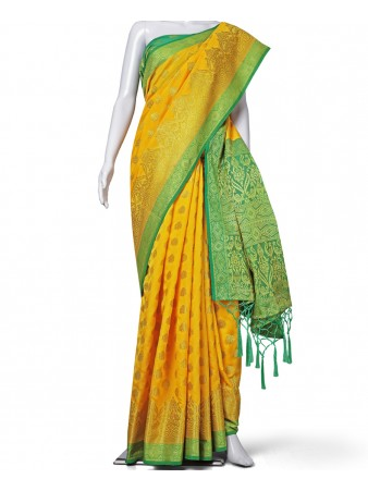 RE - Redolent Yellow Heavy Banarasi Silk patola saree