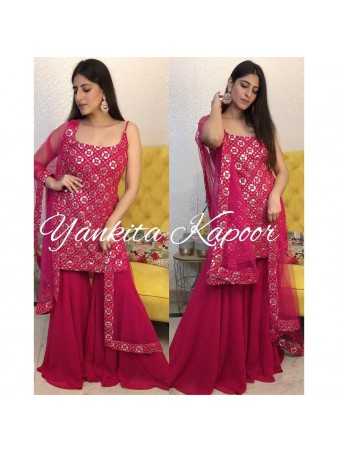 RE - Pink Colored Mirror Work Semi-Stiched Suit