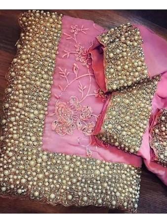 VF - Heavy embroidered stone work light pink saree
