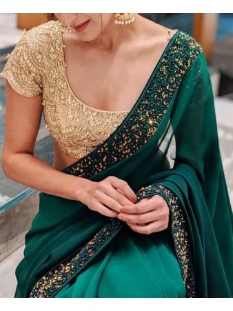 VF - Partywear green Georgette sequence work saree